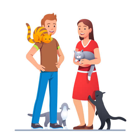 Two cat lovers meeting with their pets and talking