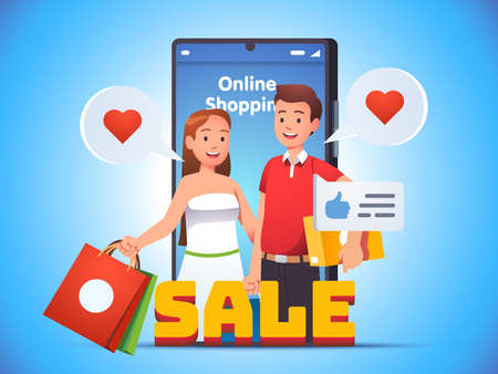 Online shopping. Family couple holding bags, box