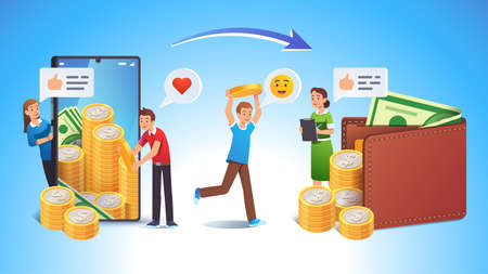 Cashing online app or bank earnings income concept