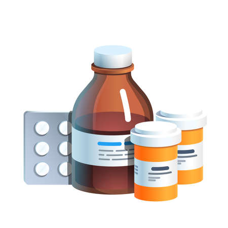 Meds, pill blister, glass bottle with medicine