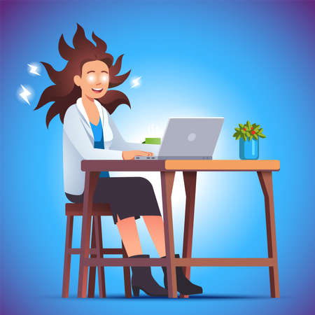 Crazy energized business woman working with laptop