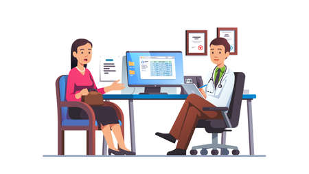 Woman talking to primary care physician man
