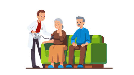 Doctor or nurse visiting elderly people family