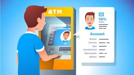 ATM face recognition. Man using cash machine