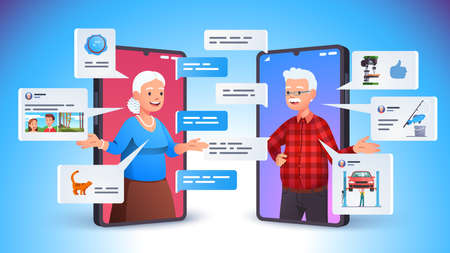 Aged family couple using smart phone video call