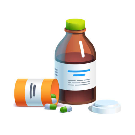 Meds, glass bottle with liquid medicine, pill tube Çizim