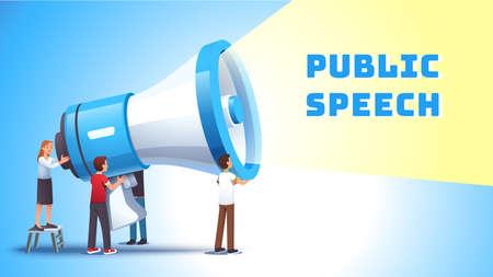 Woman shouting to bullhorn. Public speech concept Vectores