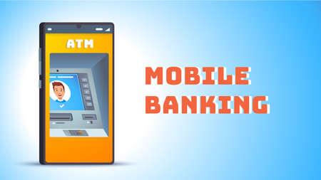 ATM. Cash machine on smart cellphone screen