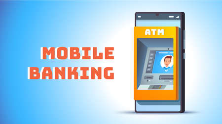 ATM in mobile phone concept. Cash machine