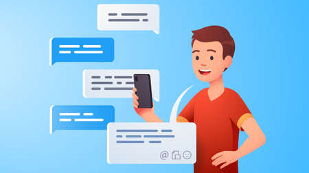 Teen kid chatting messaging using chat app Çizim