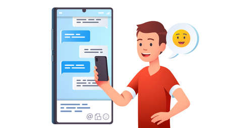 Teen kid chatting messaging using chat app Ilustrace