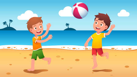 Boys kids playing beach ball at summer seaside