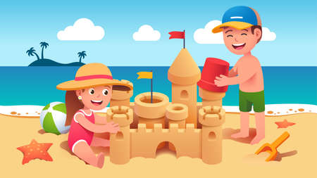 Boy, girl building sandcastle on summer sea beach