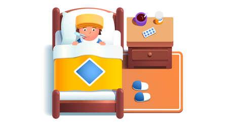Sick boy kid lying in bed under blanket