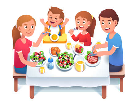 Father, mother, kids having family dinner or lunch Çizim