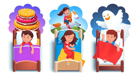 Girl, boys kids sleeping in beds having dreams