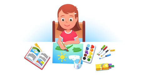 Girl kid sitting at table, painting summer picture
