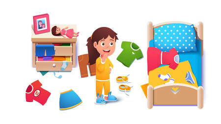 Kid girls untidy messy home room interior