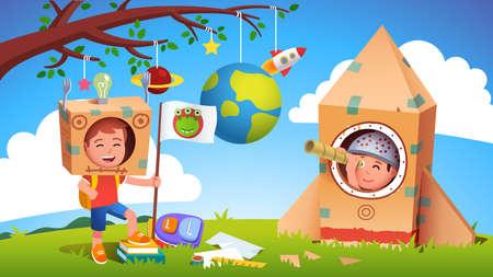 Boy kids playing alien earthling cosmonaut contact Ilustración de vector