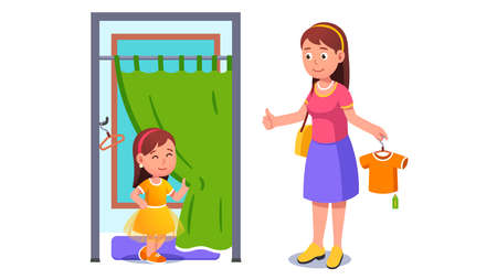 Girl kid trying on dress in shop fitting room Ilustrace