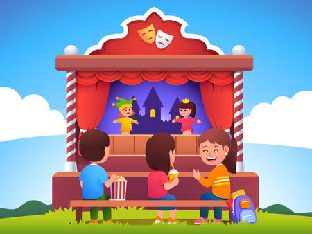 Kids audience watching puppet show on stage