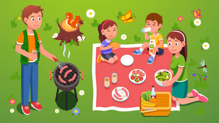 Family picnic grill. Enjoying meal and nature