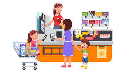 Mother with kids buying groceries at supermarket