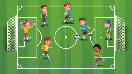 Boys kids playing soccer ball on field