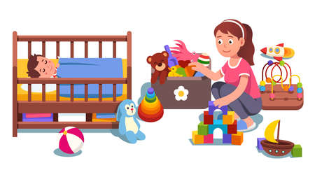 Mother cleaning up child bedroom picking toys Vector Illustration