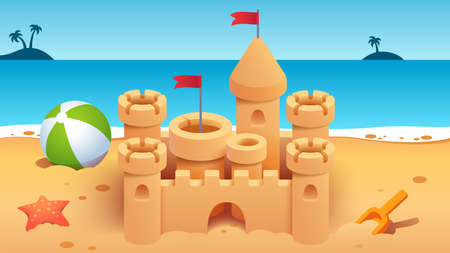 Sandcastle with towers on empty summer sea beach