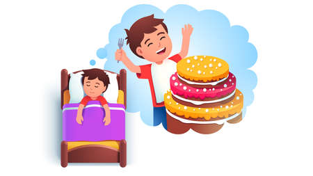Boy kid sleeping in bed dreaming of eating cake