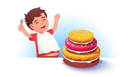 Celebrating boy kid preparing to eat big cake