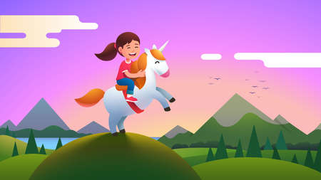 Girl kid riding unicorn on beautiful meadow hill Ilustração