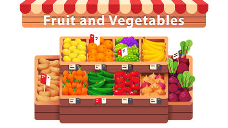 Fruit, vegetables supermarket shop aisle or stall Çizim