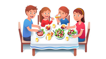 Family having dinner meal together at home