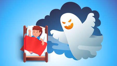 Boy kid sleeping in bed dreaming having nightmare