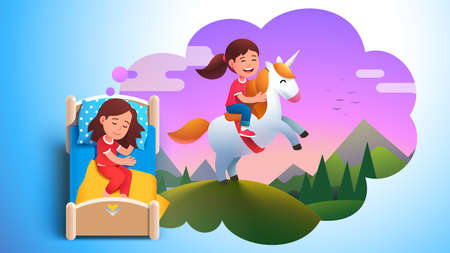 Girl kid sleeping dreaming about riding unicorn