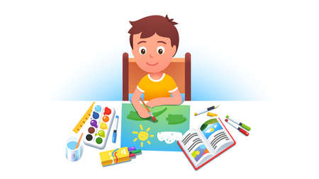 Boy kid sitting at table, painting summer picture