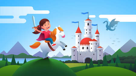 Girl kid medieval horseman knight riding horse Çizim