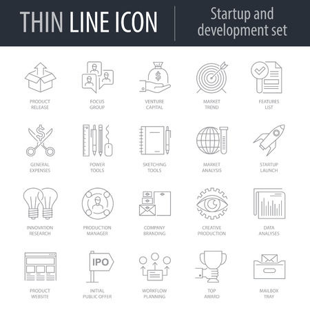 Icons Of Startup And Development. Symbol of Intelligent Thin Line Image Pack. Stroke Pictogram Graphic for Web Design. Quality Outline Vector Symbol Concept Collection. Premium Mono