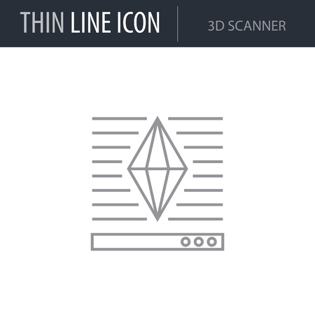 Symbol of 3d Scanner Thin line Icon of 3D Printing and Modeling. Stroke Pictogram Graphic for Web Design. Quality Outline Vector Symbol Concept. Premium Mono Linear Beautiful Plain Laconic Logo. Illustration