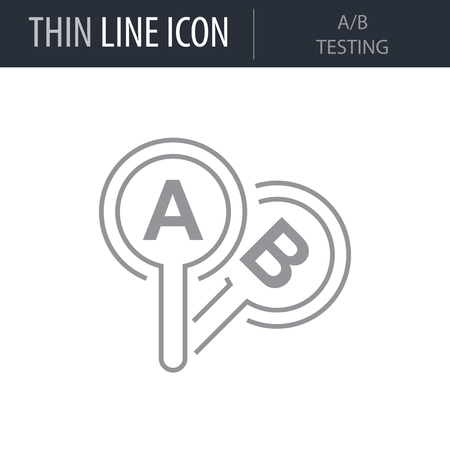 Symbol of A-b Testing Thin line Icon of Design Thinking. Stroke Pictogram Graphic for Web Design. Quality Outline Vector Symbol Concept. Premium Mono Linear Beautiful Plain Laconic Logo
