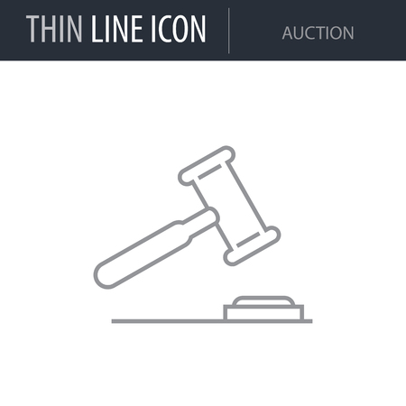 Symbol of Auction Thin line Icon of Banking and Finance. Stroke Pictogram Graphic for Web Design. Quality Outline Vector Symbol Concept. Premium Mono Linear Beautiful Plain Laconic Logo Ilustração