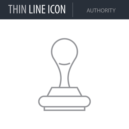 Symbol of Authority Thin line Icon of Banking and Finance. Stroke Pictogram Graphic for Web Design. Quality Outline Vector Symbol Concept. Premium Mono Linear Beautiful Plain Laconic Logo