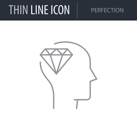 Symbol of Perfection Thin line Icon of Brain Process. Stroke Pictogram Graphic for Web Design. Quality Outline Vector Symbol Concept. Premium Mono Linear Beautiful Plain Laconic Logo