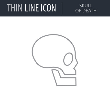 Symbol of Skull of Death. Thin line Icon of Icons Of Biochemistry And Genetics Icon. Stroke Pictogram Graphic for Web Design. Quality Outline Vector Symbol Concept. Premium Mono Linear Beautiful Illustration
