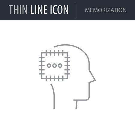 Symbol of Memorization Thin line Icon of Brain Process. Stroke Pictogram Graphic for Web Design. Quality Outline Vector Symbol Concept. Premium Mono Linear Beautiful Plain Laconic Logo
