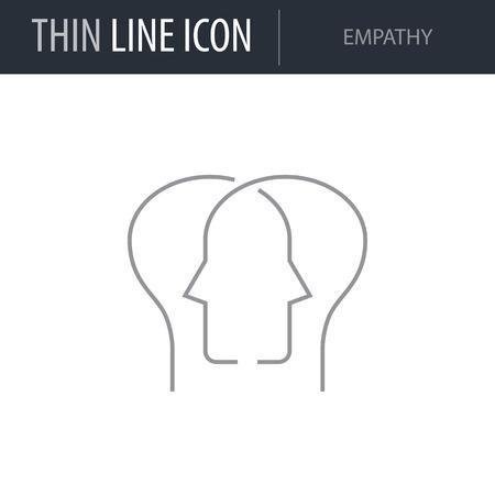 Symbol of Empathy Thin line Icon of Brain Process. Stroke Pictogram Graphic for Web Design. Quality Outline Vector Symbol Concept. Premium Mono Linear Beautiful Plain Laconic Logo Logo