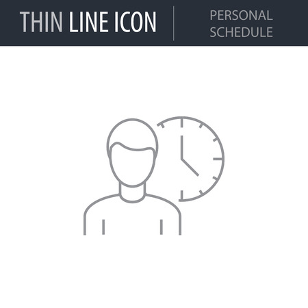 Symbol of Personal Shedule Thin line Icon of Business. Stroke Pictogram Graphic for Web Design. Quality Outline Vector Symbol Concept. Premium Mono Linear Beautiful Plain Laconic Logo Illustration