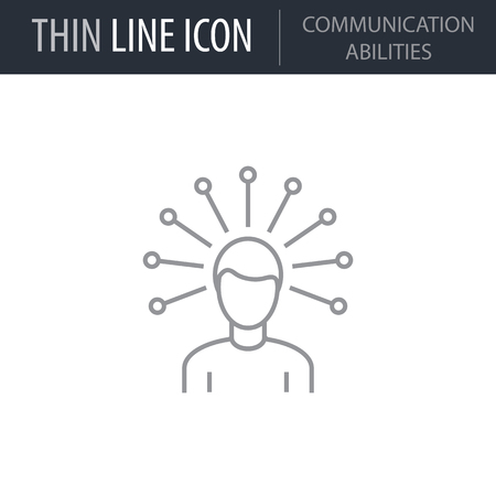 Symbol of Communication Abilities Thin line Icon of Business. Stroke Pictogram Graphic for Web Design. Quality Outline Vector Symbol Concept. Premium Mono Linear Beautiful Plain Laconic Logo